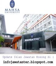 Jawatan Kosong Terkini MAHSA University