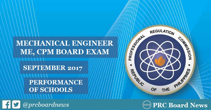 September 2017 Mechanical Engineer ME, CPM board exam result