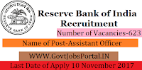 Reserve Bank of India Recruitment 2017–– 623 Assistant Officer
