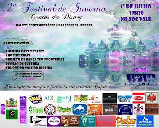 """2º Festival de Inverno """"Contos da Disney""""na ADC Vale em Cajati"""