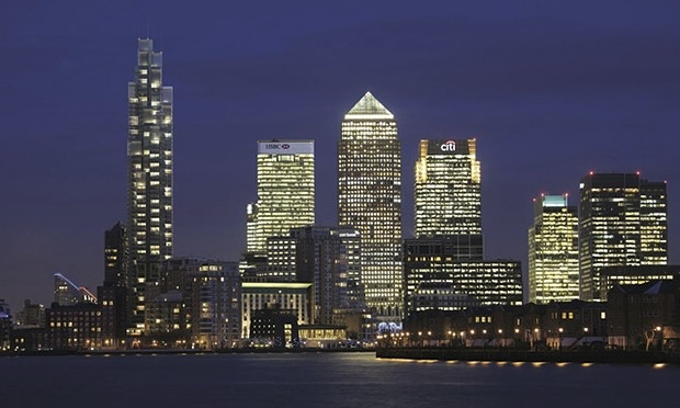 Urbanism. Canary Wharf in London. Financial centre