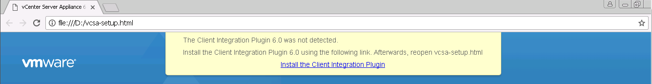 """The Client Integration Plugin 6.0 was not detected."" - VCSA 6.0 Web client error"
