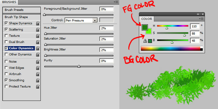 custom photoshop leaves grass brush
