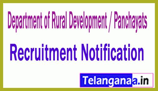 Department of Rural Development / Panchayats Recruitment Notification