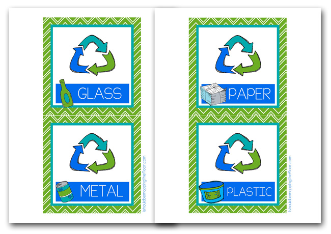 graphic about Recycle Labels Printable named Absolutely free Printable Recycling Bin Labels i ought to be mopping