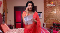 Jigyasa Singh from Thapki Pyaar Ki in Orange Transparent Saree (7).jpg