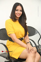 Actress Poojitha Stills in Yellow Short Dress at Darshakudu Movie Teaser Launch .COM 0257.JPG