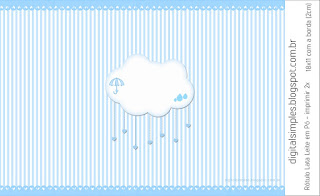 Light Blue Rain of Blessings or Rain of Love: Free Printable Candy Bar Labels.