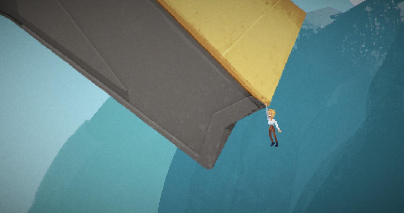 Ruth se aferra a un ala de la nave.