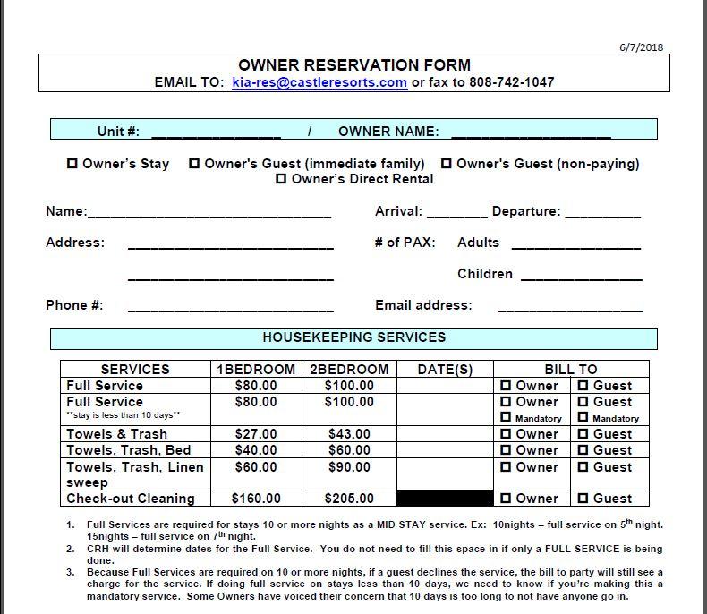 Kiahuna® Castle RAB Blog: New Reservation Form