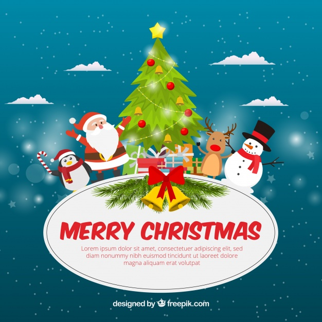 Funny flat christmas background Free Vector