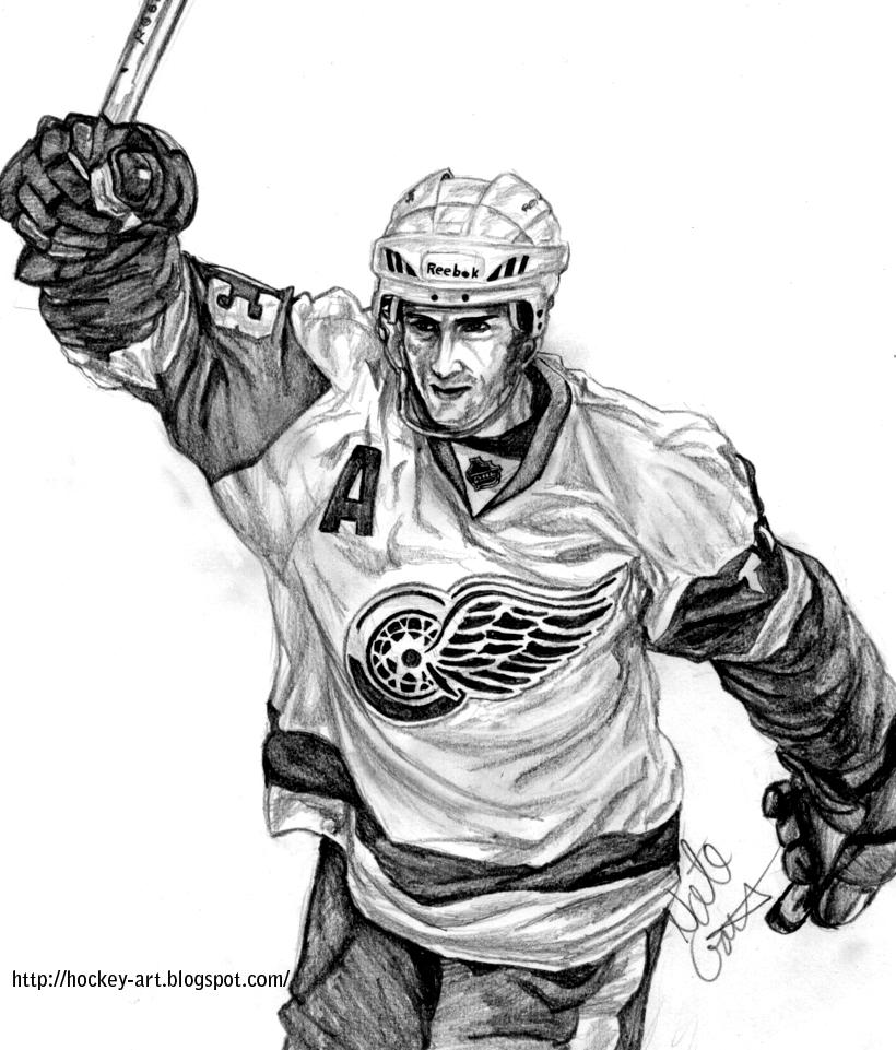 Hockey goalie coloring pages detroit red wings ~ Hockey in art: 2012 Playoffs Predators Vs. Red Wings