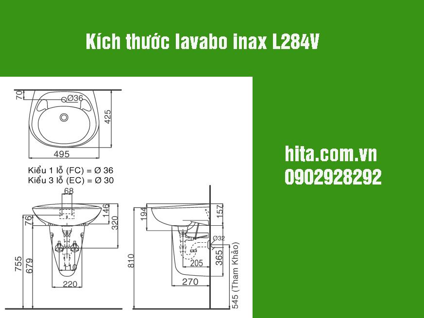Kích thước lavabo inax l284v gia gốc, bảo hành chính hãng 2018