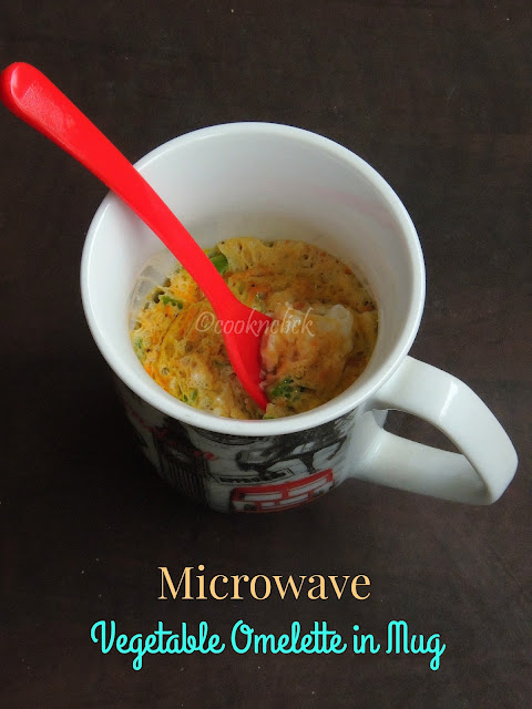 Microwave vegetable omelette in Mug, Omelette in Mug