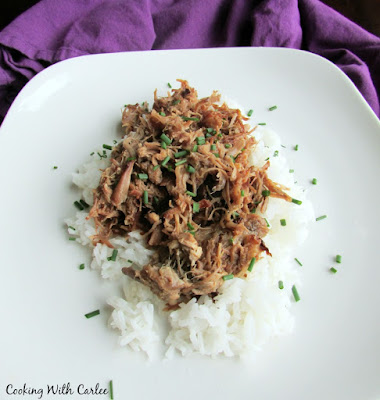 pineapple pulled pork served on top of a bed of rice