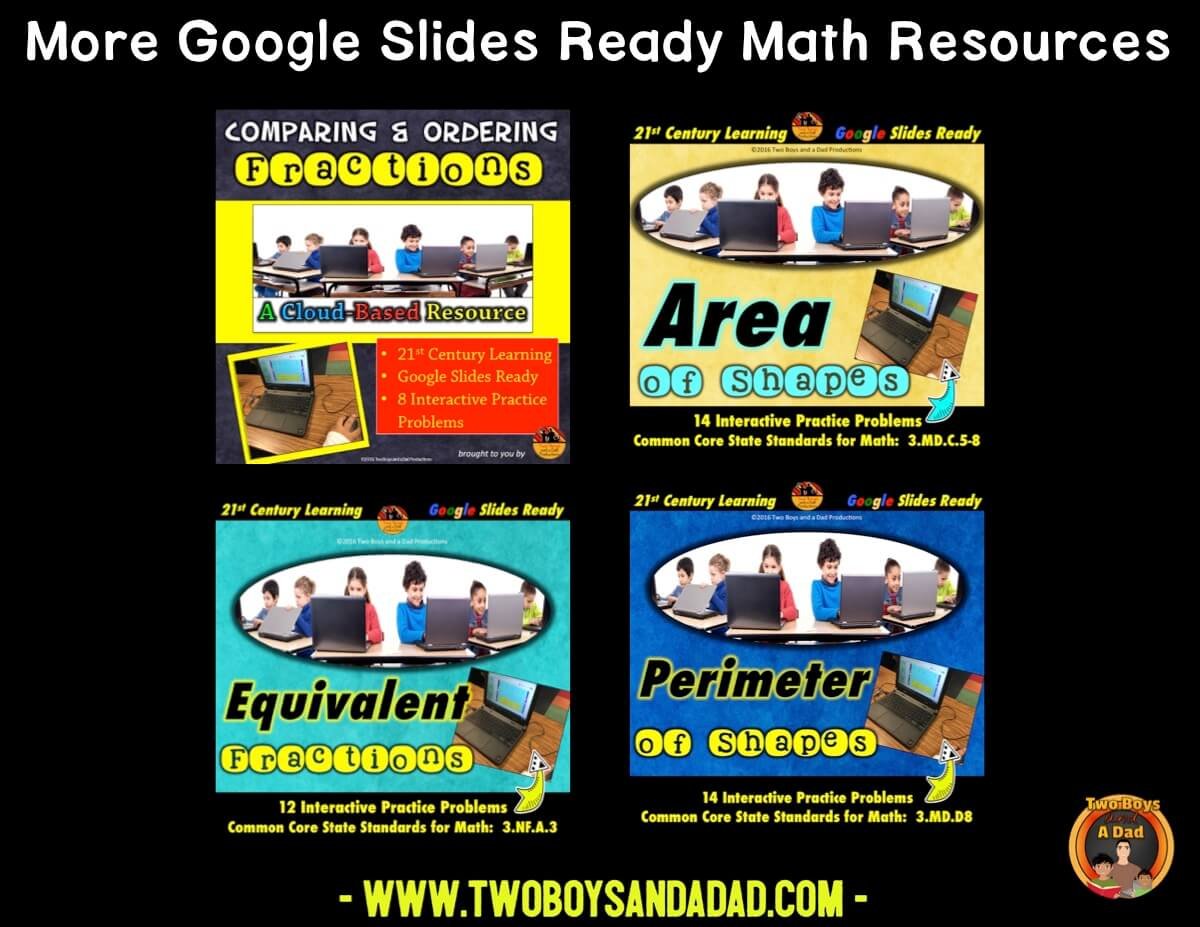 comparing fractions using Google Slides resources