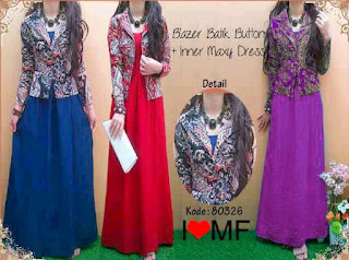 Model Long Dress Batik Kombinasi Blazer elegan