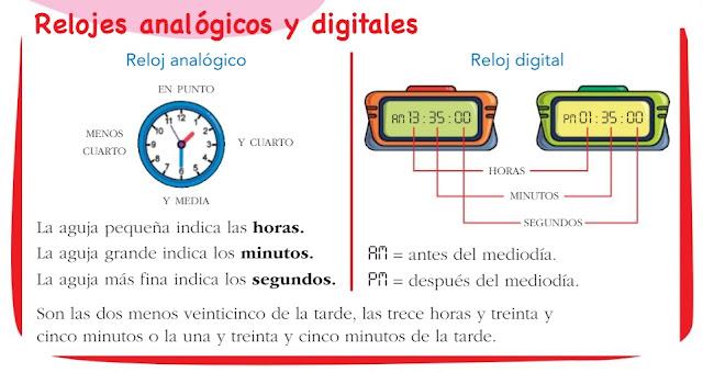 Resultado de imagen de relojes digitales y analogicos primaria