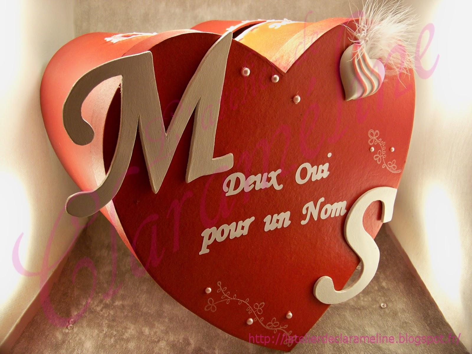 Urne Mariage Coeur Rouge Et Blanc