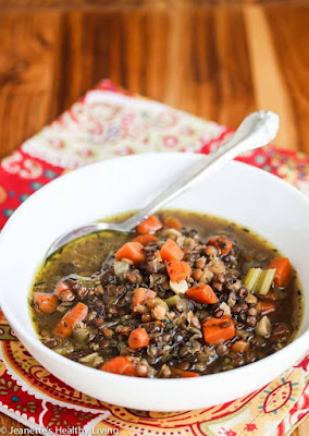 Slow Cooker Lentil Smoked Ham Soup from Jeanette's Healthy Living featured on SlowCookerFromScratch.com