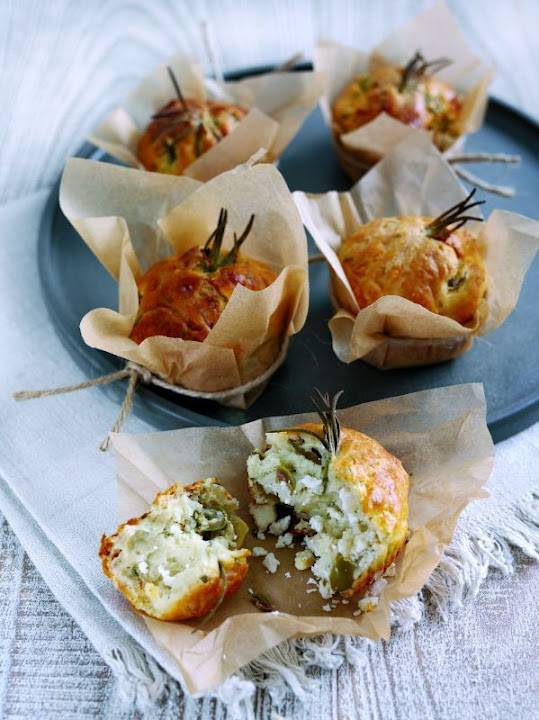 French Goat's Cheese Mini-Log, Rosemary And Green Olive Muffins