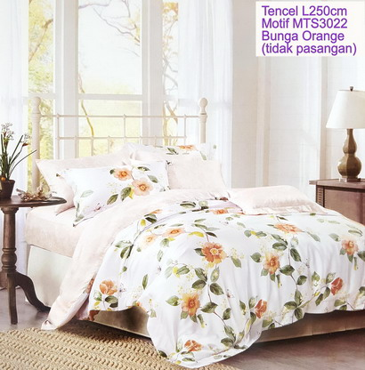 Sprei Tencel Bunga Orange