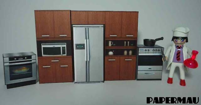 Papercraft imprimible y recortable de muebles de cocina. Manualidades a Raudales.