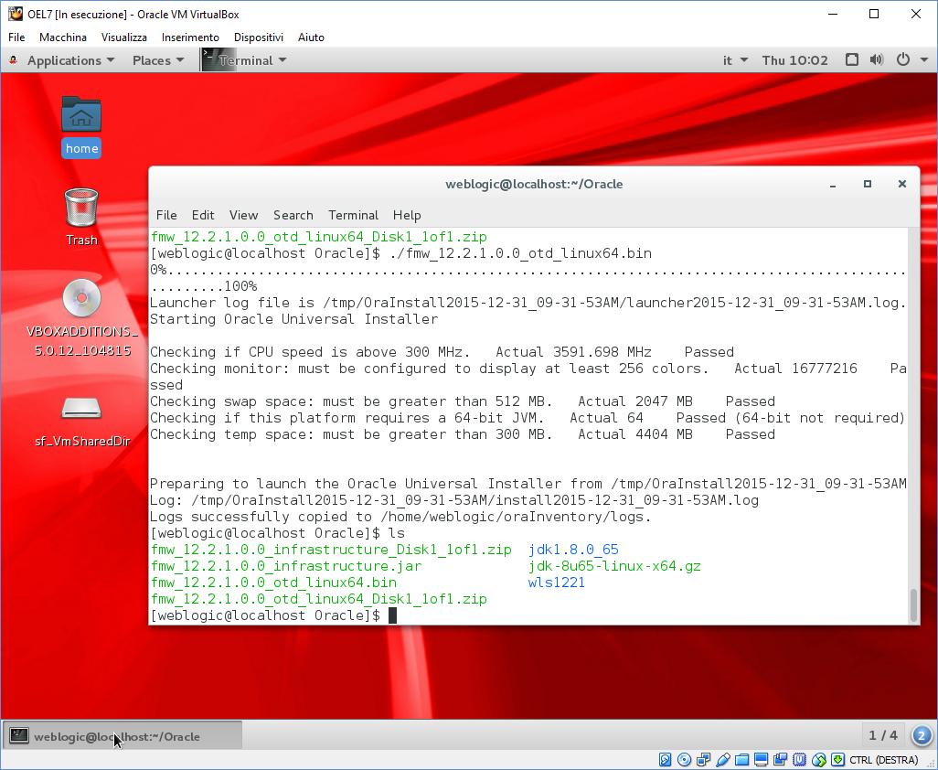Fabrizio Marini: How to install JDK8, WLS12 2 1 & OTD 12 2 1 on