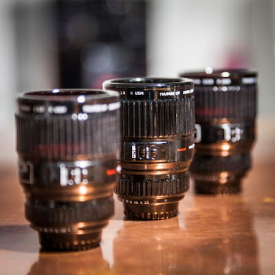 Foto van Radbag: Espressokopjes in de vorm van cameralens-set van 3-