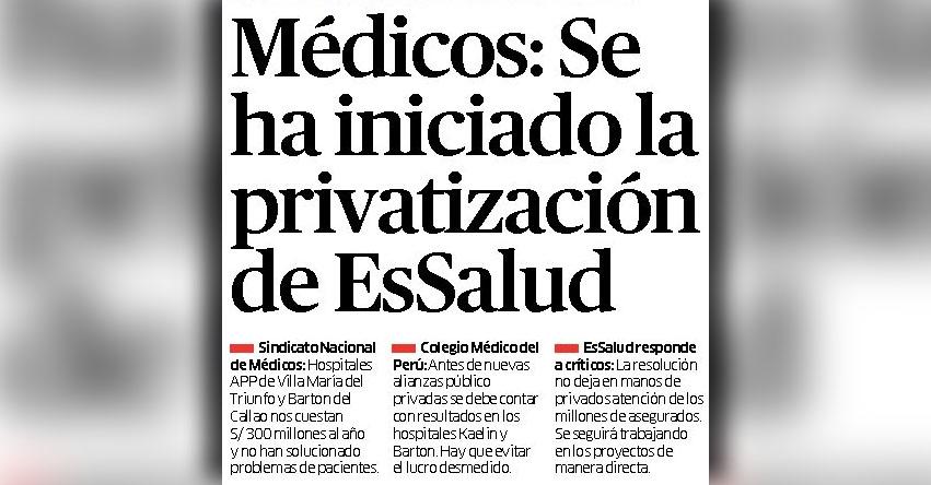 Se ha iniciado la privatización de EsSalud, aseguran médicos del Seguro Social