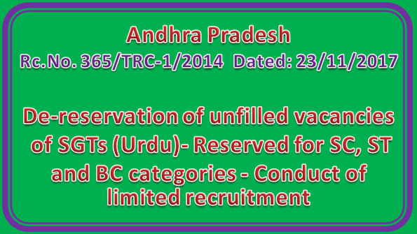 Rc No 365 II  De-reservation of unfilled vacancies of SGTs (Urdu)- Reserved for SC, ST and BC categories - Conduct of limited recruitment
