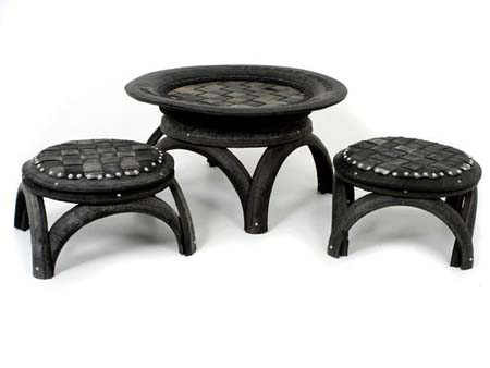 Dishfunctional designs upcycled recycled tires art for Tyre furniture
