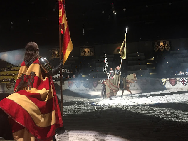 The knights preparing for an evening of games at Medieval Times.