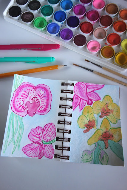 watercolor, watercolor flowers, art journal, travel journal, watercolor painting, how to paint orchids