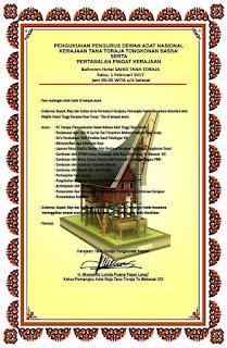Undangan Pengukuhan Raja Toraja Tongkonan Sassa'