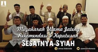 Muzakarah Ulama Jateng Rekomendasi 5 Keputusan Sesatnya Syiah