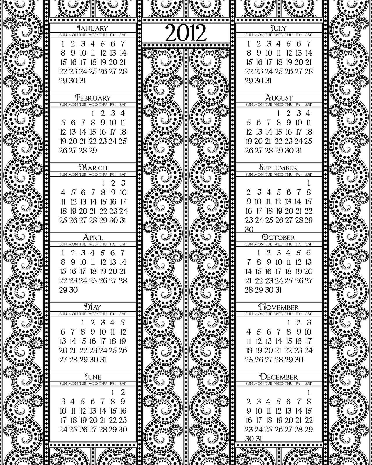 Calendar Year Q : Don t eat the paste black and white calendar