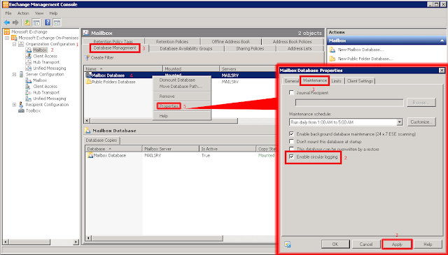 Habilitar el Registro Circular Microsoft Exchange 2010.