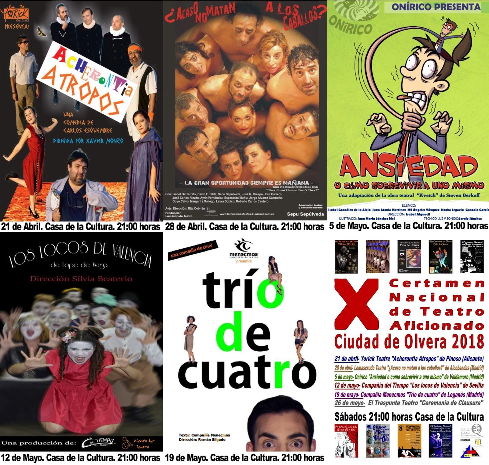 X Certamen Nacional de Teatro Aficionado Ciudad de Olvera 2018