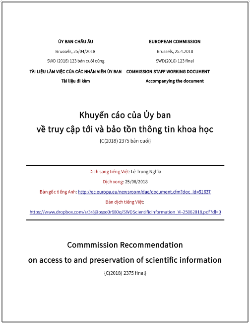 'Khuyến cáo của Ủy ban về truy cập tới và bảo tồn thông tin khoa học' - bản dịch sang tiếng Việt