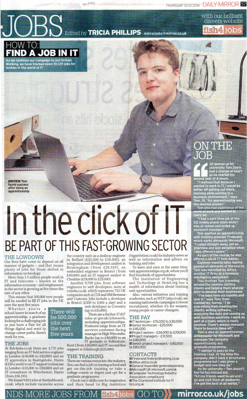 Tom Davis in the Daily Mirror