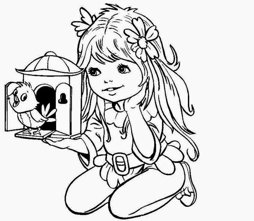 colours drawing wallpaper: Beautiful Little Girl Play Doll