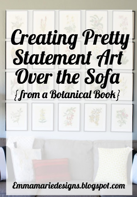 How to create pretty statement art over the sofa {from a botanical book} @ emmamariedesigns.blogspot.com