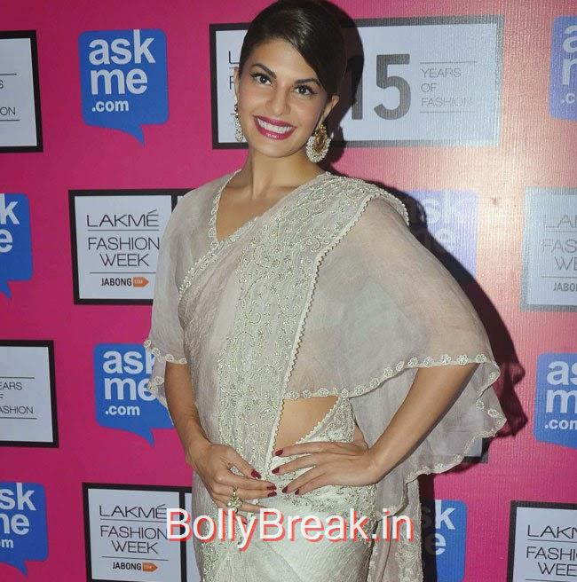 Jacqueline Fernandez Photoshoot Stills, Jacqueline Fernandez in White Saree at Lakme fashion Week 2015