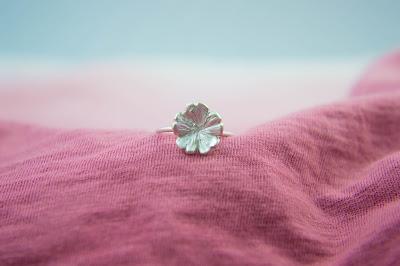 Silver Primrose Flower Ring, bloom