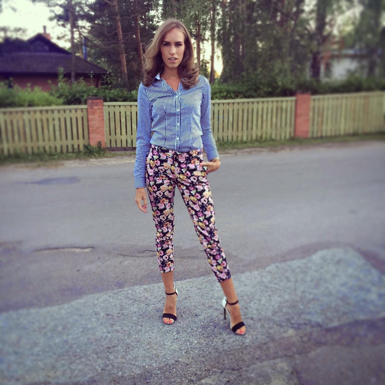 hm striped button up shirt floral ankle pants