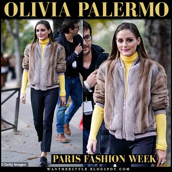 Olivia Palermo in brown fur cara mila alegra bomber jacket, black pants and yellow sweater fashion week outfit paris september 30