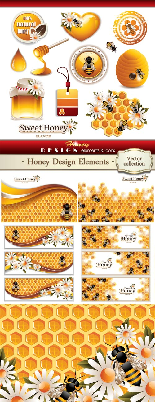 Honey design elements and icons size 48 mb