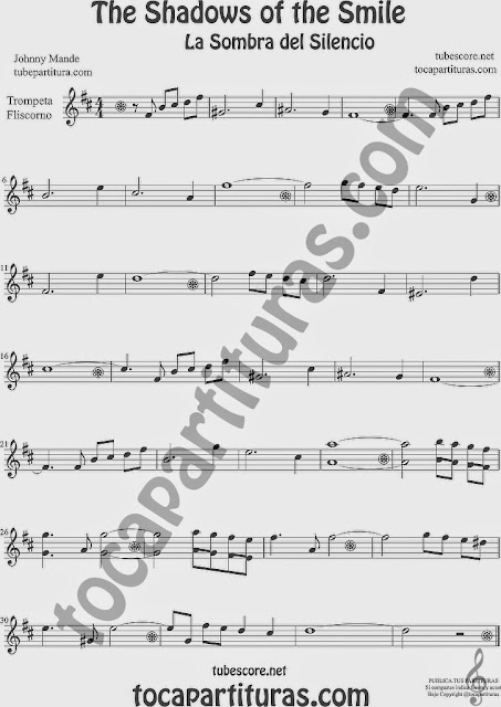 The Shadows of Your Smile  Partitura de Trompeta y Fliscorno Sheet Music for Trumpet and Flugelhorn Music Scores La Sombra de tu Sonrisa
