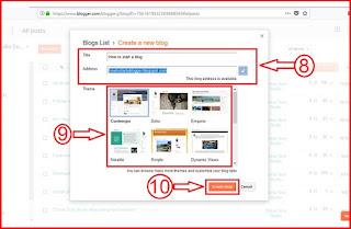 Enter blog address and title